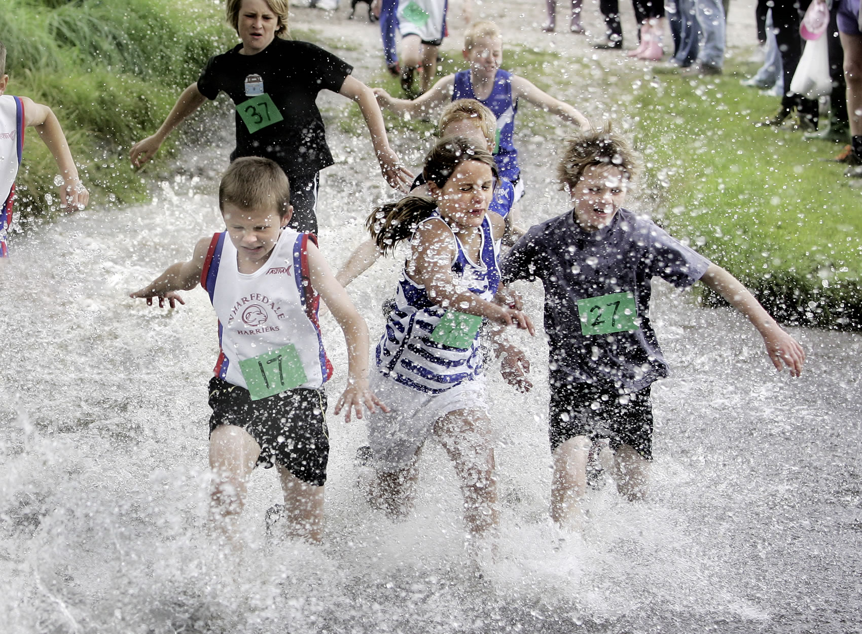 Making a splash at Malhamdale junior fell race